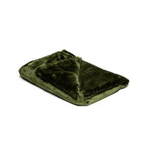 Olivově zelená mikroplyšová deka My House, 150 x 200 cm