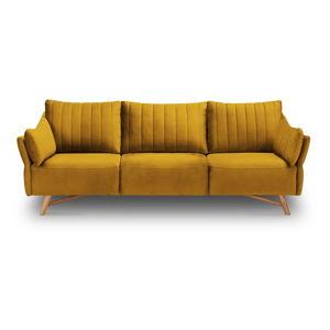 Žlutá sametová pohovka Interieurs 86 Elysée, 232 cm