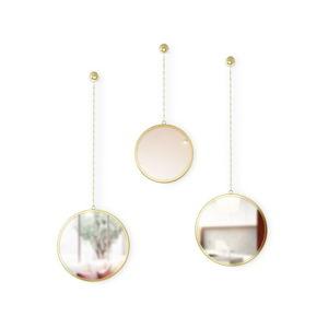 Sada 3 závěsných zrcadel na řetězu ve zlaté barvě Umbra Rondo