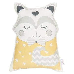 Žlutý dětský polštářek s příměsí bavlny Apolena Pillow Toy Smart Cat, 23 x 33 cm