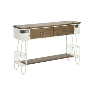 Hnědo-bílý konzolový stolek Mauro Ferretti Tabloid