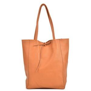 Koňakově hnědá dámská kožená kabelka Sofia Cardoni Shopper