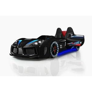 Černá dětská postel ve tvaru auta s LED světly Racero, 90 x 190 cm