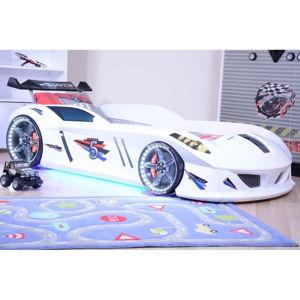 Bílá dětská postel ve tvaru auta s LED světly Speedy, 90 x 190 cm