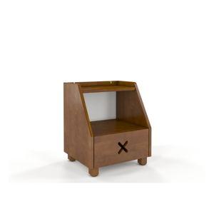 Noční stolek z bukového dřeva se zásuvkou a policí v dubovém dekoru Skandica Visby Ustka