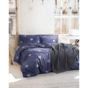 Povlečení s prostěradlem z ranforce bavlny na dvoulůžko Tstar Blue, 200 x 220 cm