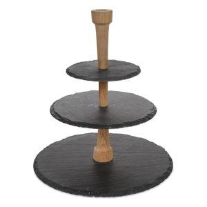 Třípatrový podnos z břidlice a dubového dřeva Boska Party Tower