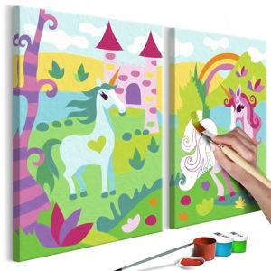 DIY set na tvorbu vlastního dvoudílného obrazu na plátně Artgeist Fairytale Unicorns, 33 x 23 cm